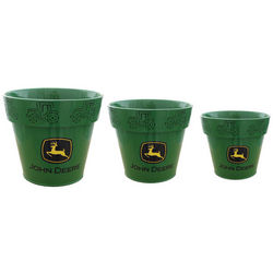 3 Metal John Deere Flower Pots