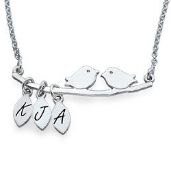 Mother's Personalized Bird Necklace in Silver