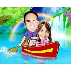 Canoeing Under a Rainbow Caricature Print