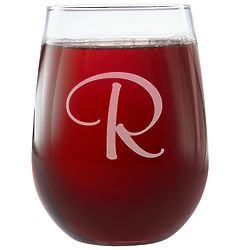Personalized Script Single Initial Stemless Wine Glass