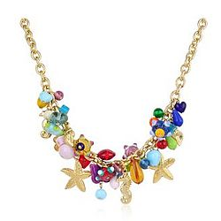 Marilena Murano Glass Marine Gold Plated Necklace