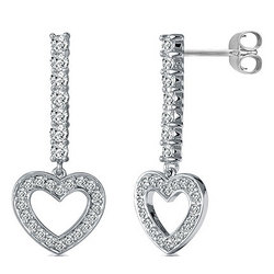 Dangling Heart Earrings in Sterling Silver CZ