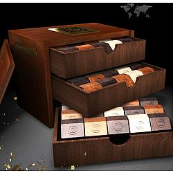 Orpheon Deluxe 3-Drawer Mahogany Box of French Chocolates