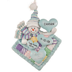 Snowman on Blanket Personalized Christmas Ornament