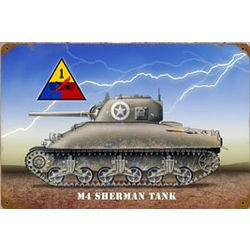 Sherman Tank Metal Sign