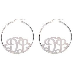 Sterling Silver Custom Two Initial Monogram Hoop Earrings