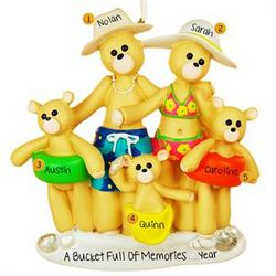 Five Beach Bears Family Christmas Ornament