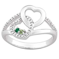Couple's Intertwined Hearts Birthstone and Diamond Ring