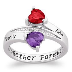 Sterling Silver Couple's Birthstone Hearts Name Ring