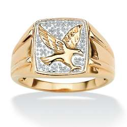 Men's 18K Gold Over Sterling Silver Diamond Accent Eagle Ring