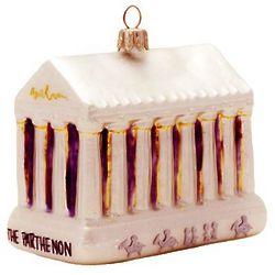 The Parthenon Blown Glass Christmas Ornament