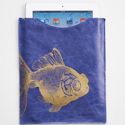 Fish Design Leather E-Reader Case