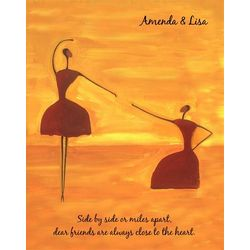 Dancing Pair Best Friends Personalized Art Print