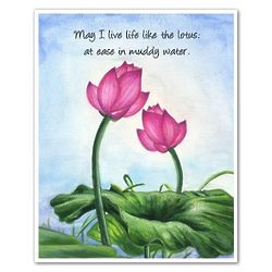 Lotus Flowers Personalized Art Print