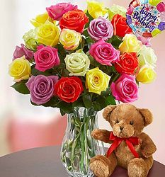 Happy Birthday Rose Bouquet with Bear
