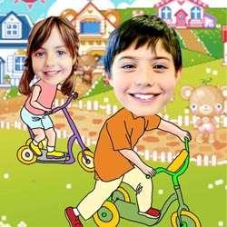 Your Photo in a Biking In Wonderland Caricature