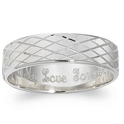 Sterling Silver Vertical-Cut Engraved Message Band