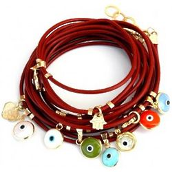 Red Leather Evil Eye Charms Bracelet