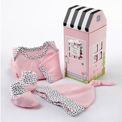 Welcome Home Baby! 3-Piece Pink Layette Set Gift Box