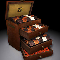 Adonis Deluxe 3-Drawer Mahogany Box of French Chocolates