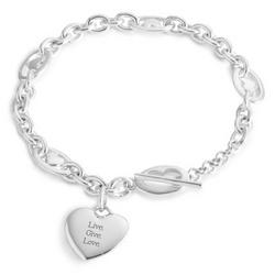 Sterling Silver Heart Station Bracelet