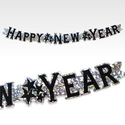 "Silver ""Happy New Year"" Jointed Banner"