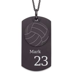 Black Stainless Steel Volleyball Engraved Dog Tag Necklace