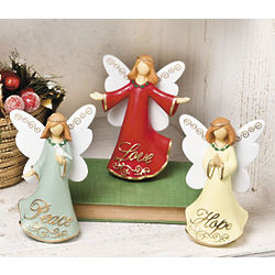 Peace, Love and Hope Angel Figurines