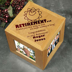 Engraved Retirement Photo Cube