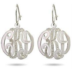 Sterling Silver Diamond Cut Monogram Earrings