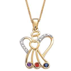 14K Gold Over Sterling Sister's Angel Birthstone Necklace