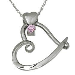 Sterling Silver Heart Slider October Birthstone Pendant