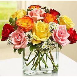 One Dozen Modern Roses in Cube Vase