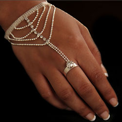 Gold-Tone Rhinestone Bracelet and Ring