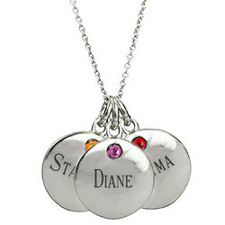 Sterling Silver Petite Triple Round Tag Birthstone Necklace