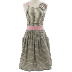 Gray and Pink Wrap Around Vintage-Inspired Apron