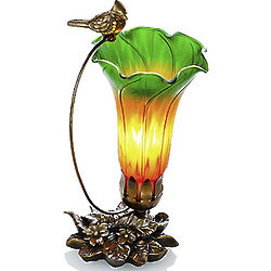 Hand-Blown Accent Lily Lamp with Sparrow