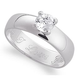 Sterling Silver Solitaire CZ Engraved Message Ring
