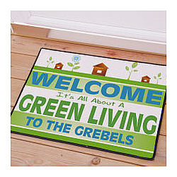 Green Living Personalized Go Green Doormat