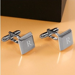 Engravable Rhodium Plated Square Keys Cufflinks