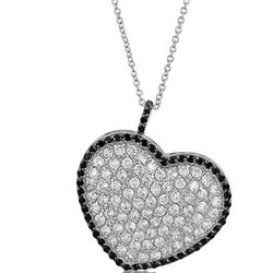 2-Tone Heart Pendant in CZ Sterling Silver Necklace