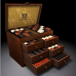 Ambrosia Deluxe 6-Drawer Mahogany Box of French Chocolates