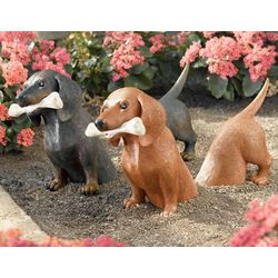 2-Piece Dachshund Garden Sculpture