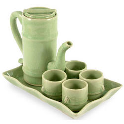 Bamboo Growth Celadon Ceramic Tea Set