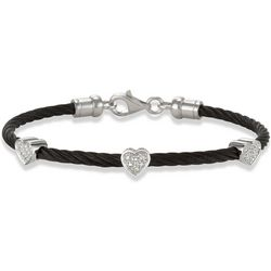 Black Stackable Cable Bracelets with Diamond Heart
