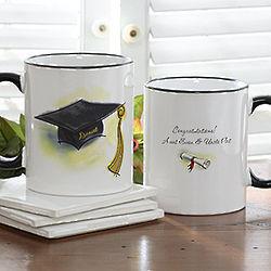 Graduation Cap and Diploma Personalized Ceramic Coffee Mug