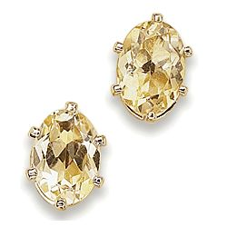 Oval Citrine Stud Earrings