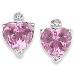 Sterling Silver Cubic Zirconia October Birthstone Heart Earrings