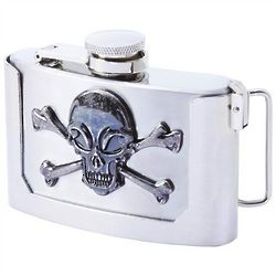 Skull and Crossbones Belt Buckle Flask