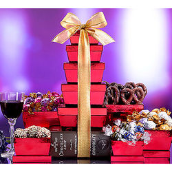 Chocolate Shop Red Wine and Chocolate Gift Tower